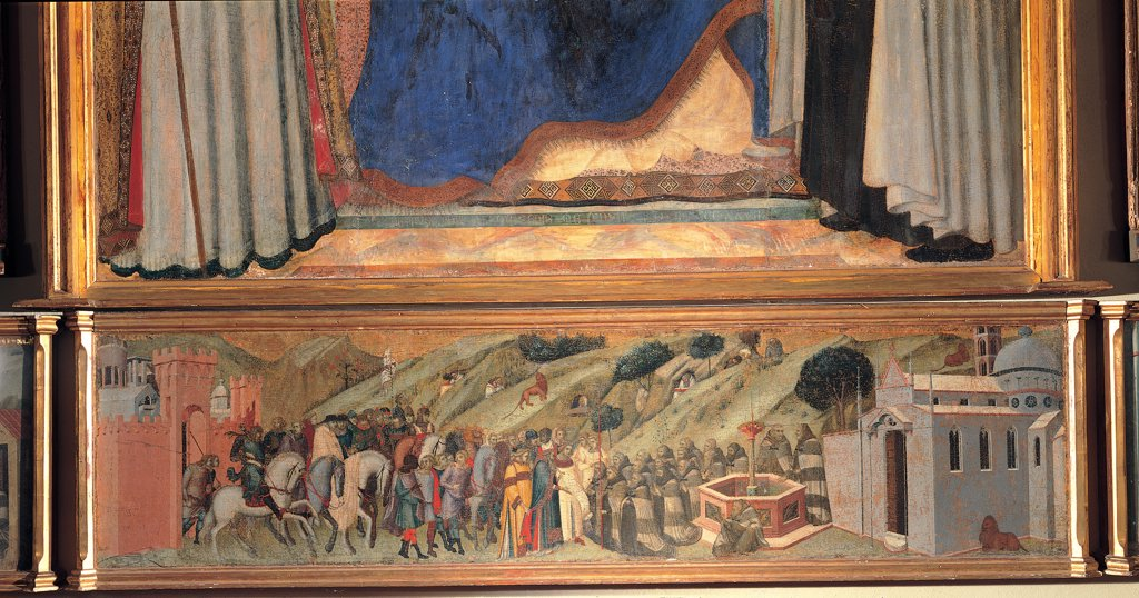 Carmine Altarpiece, by Lorenzetti Pietro, 1329, 14th Century, tempera on panel transferred to canvas. Italy, Tuscany, Siena, National Gallery of Art. Detail. St Albert Siculus patriarch of Jerusalem delivering the Carmelite Rule to St Brocard (central compartment of the predella).. : Stock Photo