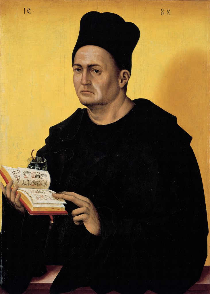 Portrait Benedictine Abbot, by Polack Jan, 1484, 15th Century, tempera on pine board. Spain, Madrid, Thyssen-Bornemisza Collection, formerly Lugano, Villa Favorita. All half length portrait male figure Benedictine monk habit headdress he holds a holy book in his hands. : Stock Photo