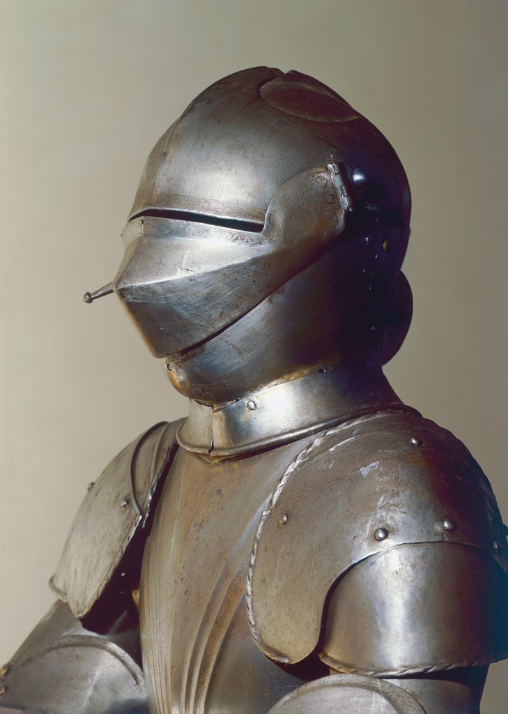Stock Photo: 1899-31075 Cuirass with helmet, by Unknown, 16th Century, steel foil. Italy, Veneto, Venice, Ducal Palace, Council of Ten Arms Rooms. Detail. Cuirass thin plates iron helmet visor nails.