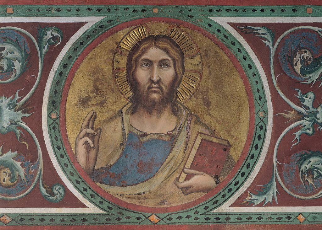 Stock Photo: 1899-31093 The Majesty, by Martini Simone, 1313 - 1315, 14th Century, fresco. Italy, Tuscany, Siena, Palazzo Pubblico, Sala del Mappamondo. Detail. Tondo with the Redeemer: Saviour blessing volutes decoration leaves blessing halo: aureole book gold-background blue green brown red brown hues: shades.