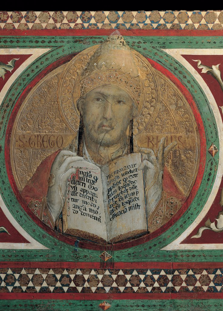 The Majesty, by Martini Simone, 1313 - 1315, 14th Century, fresco. Italy, Tuscany, Siena, Palazzo Pubblico, Sala del Mappamondo. Detail. Tondo with St Gregory Pope book inscription decoration tondoes geometry gold-background gloves red white black green brown hues: shades halo: aureole. : Stock Photo