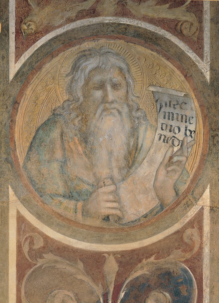 Stock Photo: 1899-31105 The Majesty, by Martini Simone, 1313 - 1315, 14th Century, fresco. Italy, Tuscany, Siena, Palazzo Pubblico, Sala del Mappamondo. Detail. Tondo with Jeremiah Prophet sheet paper inscription beard closed eyes volutes leaves green red.