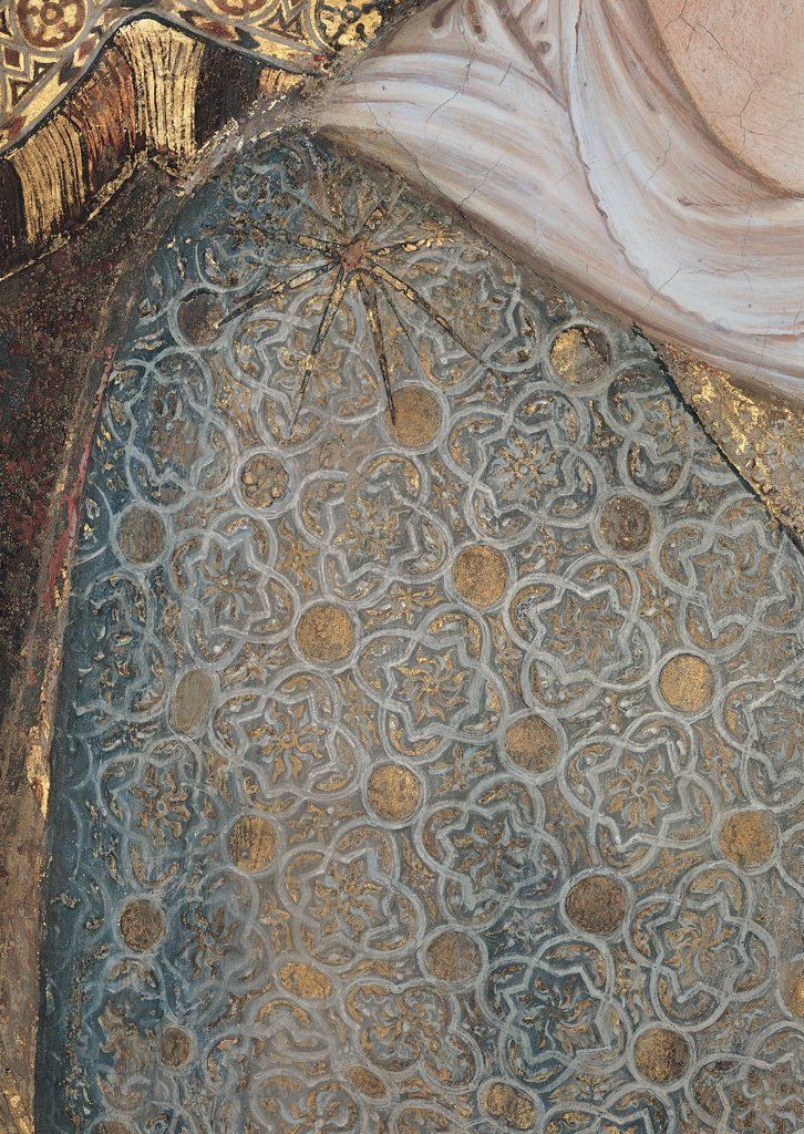 The Majesty, by Martini Simone, 1313 - 1315, 14th Century, fresco. Italy, Tuscany, Siena, Palazzo Pubblico, Sala del Mappamondo. Detail. The Virgin's dress: garment with embroidered star on the shoulder fabric: tissue. : Stock Photo