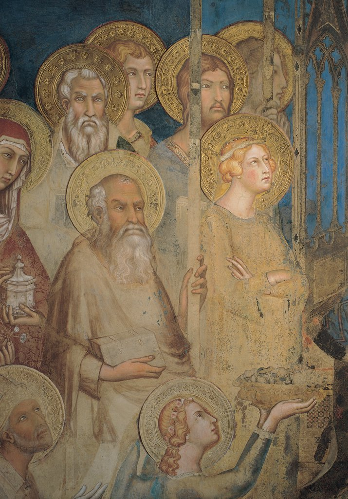 Stock Photo: 1899-31120 The Majesty, by Martini Simone, 1313 - 1315, 14th Century, fresco. Italy, Tuscany, Siena, Palazzo Pubblico, Sala del Mappamondo. Detail. Figures of St John the Evangelist, St Barbara, three apostles: prophets (including James the Less) and an angel on the left side of the throne halos: aureoles light blue: azure gold brown hues: shades.