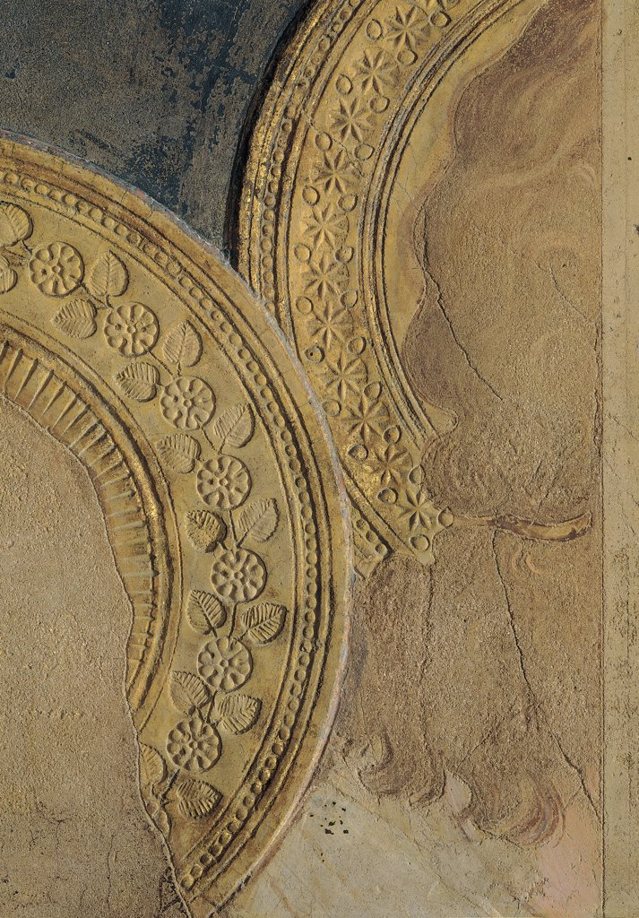 The Majesty, by Martini Simone, 1313 - 1315, 14th Century, fresco. Italy, Tuscany, Siena, Palazzo Pubblico, Sala del Mappamondo. Detail. Halos: aureoles turn of St Paul and an angel decoration gold stylized flowers. : Stock Photo