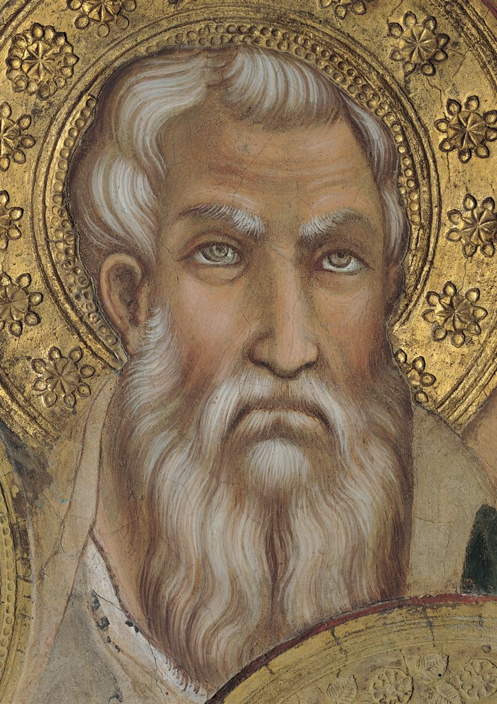 Stock Photo: 1899-31124 The Majesty, by Martini Simone, 1313 - 1315, 14th Century, fresco. Italy, Tuscany, Siena, Palazzo Pubblico, Sala del Mappamondo. Detail. Face of an apostle: prophet on the left side of the throne gold beard.