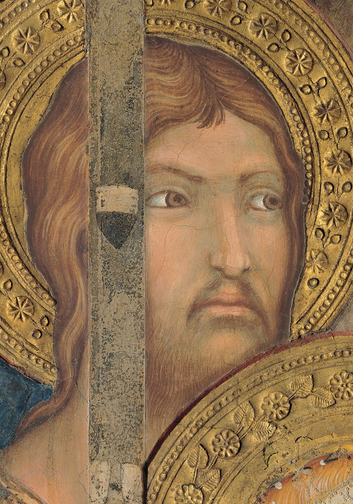 The Majesty, by Martini Simone, 1313 - 1315, 14th Century, fresco. Italy, Tuscany, Siena, Palazzo Pubblico, Sala del Mappamondo. Detail. Face of an Apostle (James the Less) on the left side of the throne halo: aureole gold decoration flowers. : Stock Photo