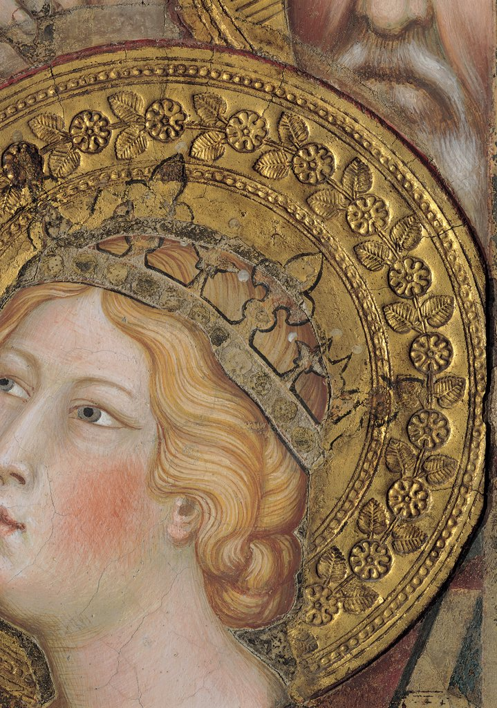 The Majesty, by Martini Simone, 1313 - 1315, 14th Century, fresco. Italy, Tuscany, Siena, Palazzo Pubblico, Sala del Mappamondo. Detail. Face of St Catherine of Alexandria (partially cut) (on the right side of the throne) crown halo: aureole hairstyle gathered hair decoration flowers leaves yellow gold pink red brown hues: shades. : Stock Photo