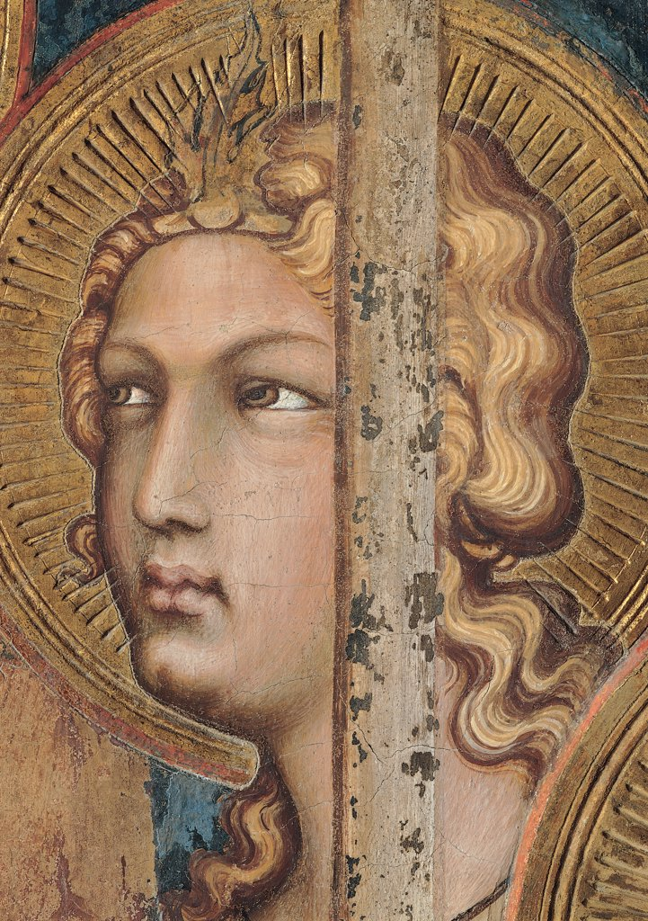 The Majesty, by Martini Simone, 1313 - 1315, 14th Century, fresco. Italy, Tuscany, Siena, Palazzo Pubblico, Sala del Mappamondo. Detail. Face of an angel (on the right side of the throne) halo: aureole rays hairstyle hairband jewel crown gold leaf pink brown hues: shades blue. : Stock Photo