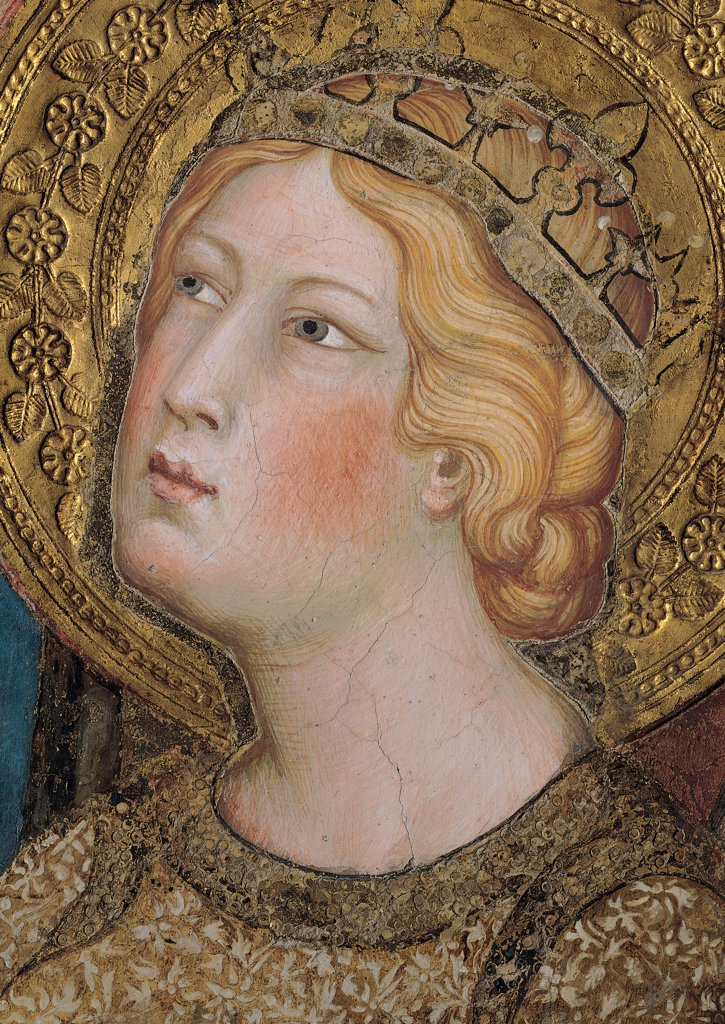 Stock Photo: 1899-31154 The Majesty, by Martini Simone, 1313 - 1315, 14th Century, fresco. Italy, Tuscany, Siena, Palazzo Pubblico, Sala del Mappamondo. Detail. Face of St Catherine of Alexandria (on the right side of the throne) halo: aureole crown flowers leaves decoration hairstyle red pink carnation gold brown blond brown hues: shades.