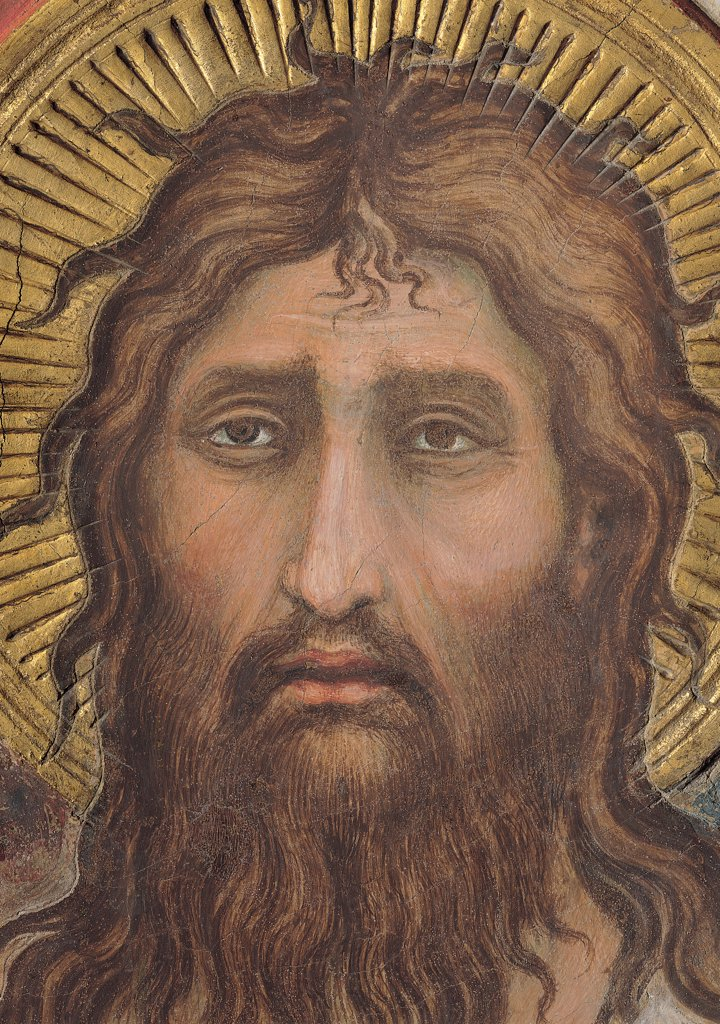 Stock Photo: 1899-31157 The Majesty, by Martini Simone, 1313 - 1315, 14th Century, fresco. Italy, Tuscany, Siena, Palazzo Pubblico, Sala del Mappamondo. Detail. Head of St John the Baptist (on the right side of the throne) hairstyle beard look halo: aureole rays brown gold brown hues: shades pink.