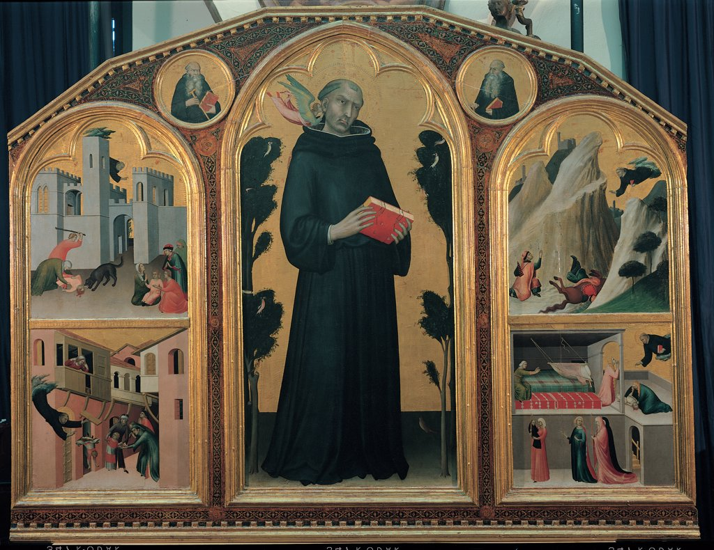 Stock Photo: 1899-31175 Blessed Agostino Novello Altarpiece, by Martini Simone, 1325 - 1328, 14th Century, tempera on panel. Italy, Tuscany, Siena, National Gallery of Art. Whole artwork. Triptych angels episodes Blessed Augustine Novello buildings plants tondos: tondi castle hills rocks gold black gray pink dark: brown shades: hues: tones red.
