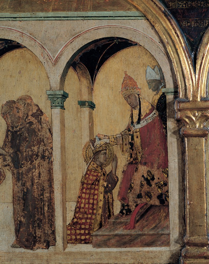 Stock Photo: 1899-31184 St Matthew and the Angel, by Martini Simone, 1317, 14th Century, tempera and oil on panel. Italy, Campania, Naples, Capodimonte National Museum and Galleries. Detail. Predella, second panel from left, event of St Louis' life, crowning scene arcade Pope Bishop Boniface VIII small columns capitals green white red yellow gold mitre.