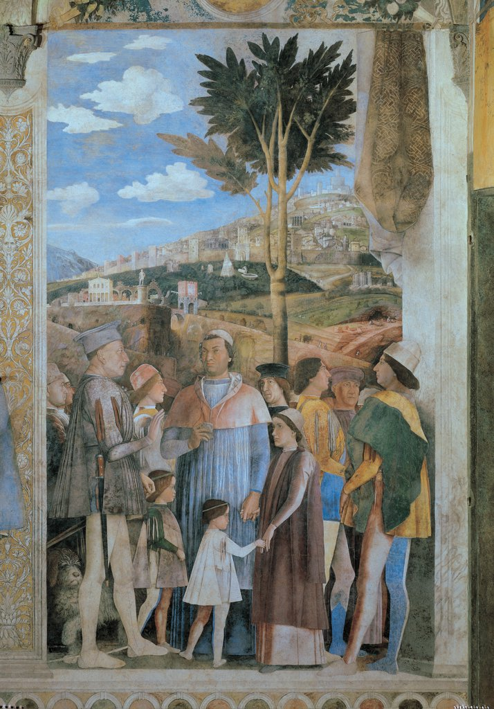 Stock Photo: 1899-31190 Decoration of the Camera degli Sposi (Camera Picta), by Mantegna Andrea, 1465 - 1474, 15th Century, fresco and dry tempera. Italy. Lombardy. Mantua. Ducal Palace. Western wall, right-hand episode/scene of Ludovico Gonzaga meets his sons Federico and Francesco. In the background, a landscape with a fortified city/town