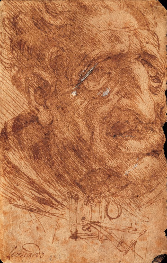 Head of an Old Man and Sketches of a Mechanical Device, by Leonardo da Vinci, 1490 - 1499, 15th Century, pen and fine brush with sepia, color ink, watercolor. Italy: Veneto: Venice: Accademia Art Galleries: inv. 234. Whole artwork. Face of a deformed old man, caricature. Thick shadings : Stock Photo