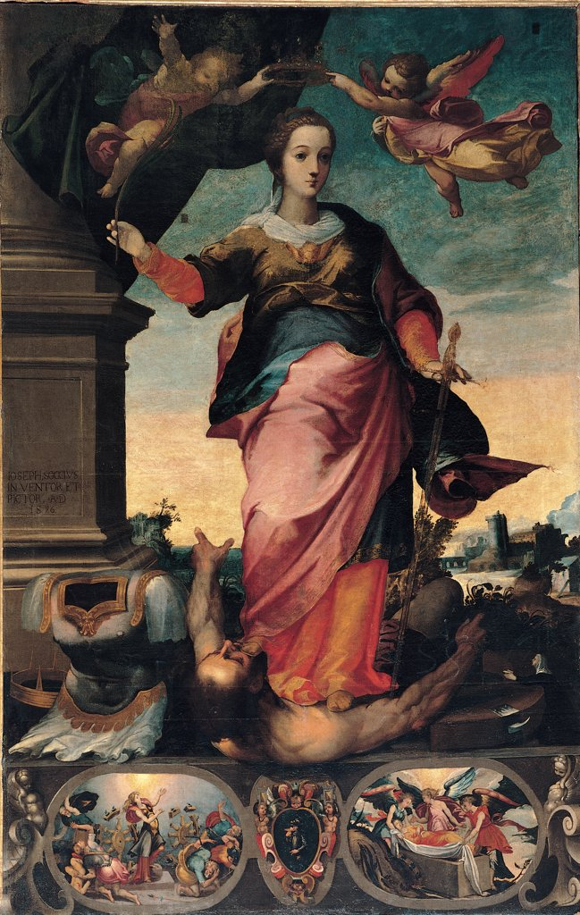 St Catherine of Alexandria, by Alvino Giuseppe, 1570 - 1611, 16th Century, canvas. Italy, Sicily, Collesano, Palermo, Mother Church. Whole artwork. Saint sword coronation angels armor: cuirass man episodes small figures lower part canvas dark: brown shades: hues: tones red yellow light blue: azure white black. : Stock Photo