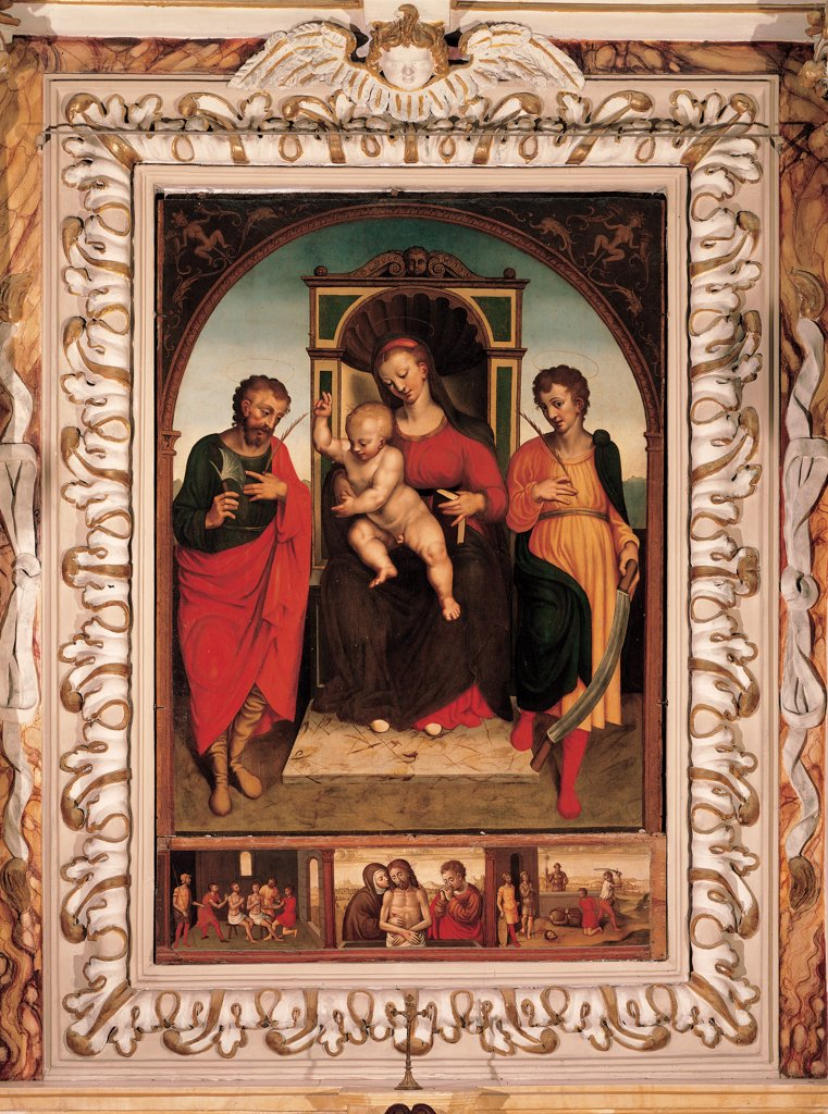 Madonna and Child with Sts Crispin and Crispinian, by Cambiaso Giovanni, Cambiaso Luca, Brea Francesco, 16th Century, panel. Italy, Liguria, Taggia, Imperia, Santi Giacomo e Filippo church. Whole artwork. Throne Madonna Child Sts Crispin Crispianus framed by a painted round arch predella episodes from the life of Christ red yellow dark: brown shades: hues: tones black white. : Stock Photo