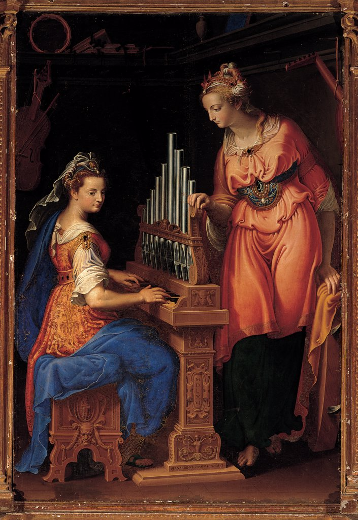 Stock Photo: 1899-31221 Sts Cecilia and Catherine, by Campi Bernardino, 1556, 16th Century, oil on canvas. Italy, Lombardy, Cremona, San Sigismondo church. Whole artwork. St Catherine St Cecilia organ stool carving decoration veil dress: robe: garment drapery pompous folds blue orange red black brown dark: brown shades: hues: tones white.