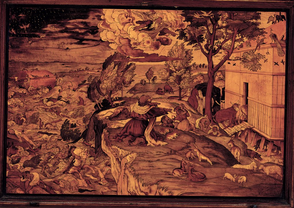 Noah's Ark (The Flood), by Capoferri (Capodiferro or Codeferri) Giovan Francesco (Gian Francesco), drawing Lotto Lorenzo, 1525, 16th Century, wooden inlay. Italy, Lombardy, Bergamo, Santa Maria Maggiore. Whole artwork. Drawing by Lorenzo Lotto. Noah's Ark (The Flood) wooden inlays ark animals plant tree waters. : Stock Photo