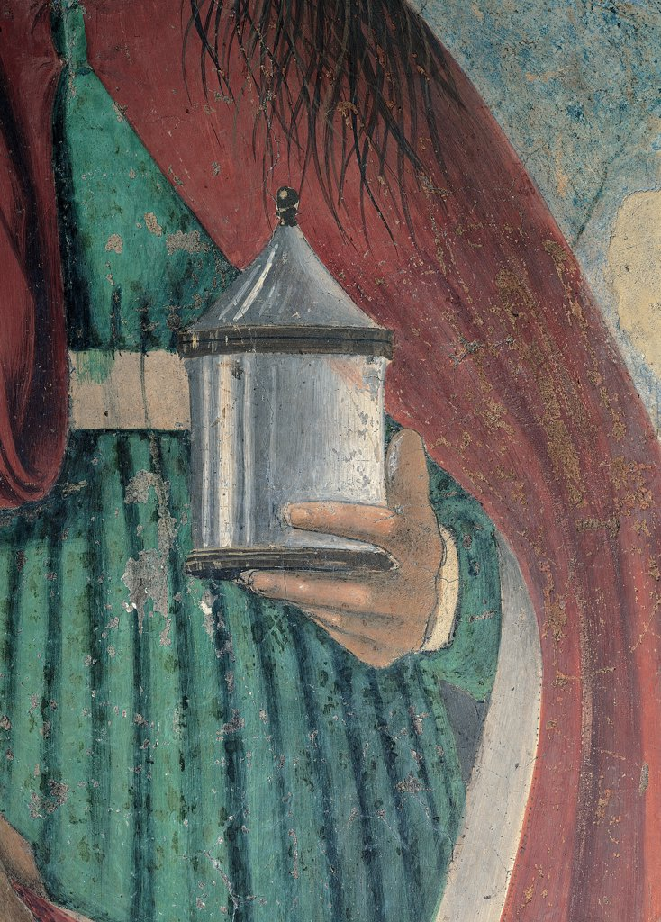 The Magdalene, by Pietro di Benedetto dei Franceschi known as Piero della Francesca, 1460 - 1466, 15th Century, fresco. Italy, Tuscany, Arezzo, Cathedral. Detail. The left hand of Mary Magdalene holds balsamario: perfume flask dress: garment red cloak: mantle. : Stock Photo