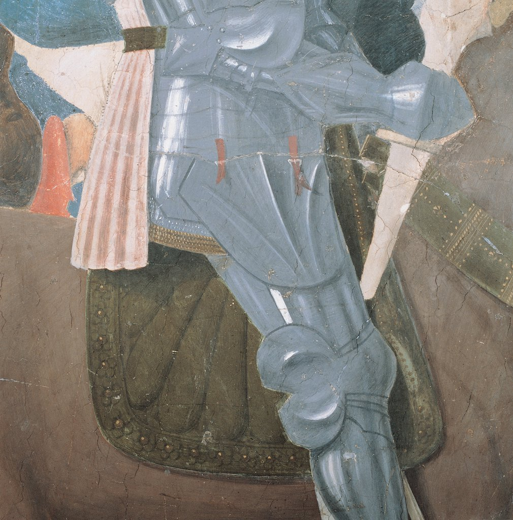 The Legend of the Cross of Victory of Constantine, by Pietro di Benedetto dei Franceschi known as Piero della Francesca, 1452 - 1462, 15th Century, fresco. Italy, Tuscany, Arezzo, San Francesco church, Major Chapel, right wall, lower order. Detail. Knight armor. Knight riding a brown horse in the foreground. Armor, cuirass, word, saddle, horse. : Stock Photo