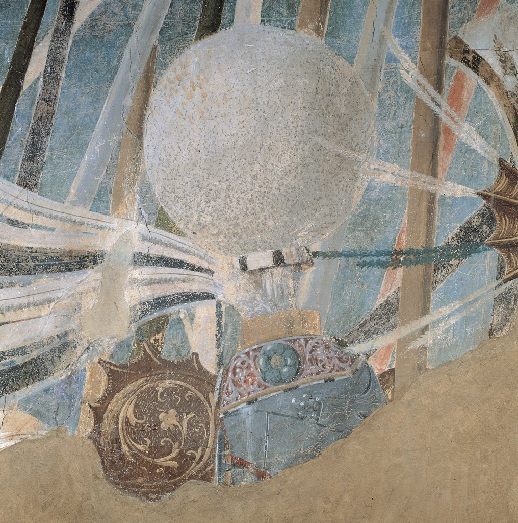 The Legend of the Cross of Victory of Constantine, by Pietro di Benedetto dei Franceschi known as Piero della Francesca, 1452 - 1462, 15th Century, fresco. Italy, Tuscany, Arezzo, San Francesco church, Major Chapel, right wall, lower order. Detail. Helmet spherical crest of the knight with Armor: cuirass in the background on left. : Stock Photo