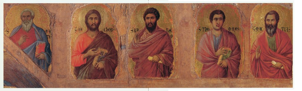 Military Parade at Campo di Marte, by Duccio di Buoninsegna, 1308 - 1311, 14th Century, tempera on panel, with gold ground. Italy: Tuscany: Siena: Opera del Duomo Museum. Front, right arcade. The apostles Matthew, James the Less, Bartholomew, Thomas and Mathias : Stock Photo