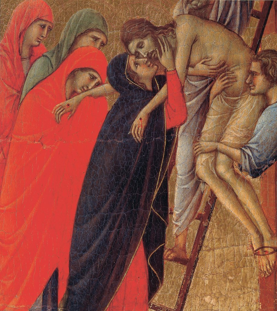 The Maesta, front, by Duccio di Buoninsegna, 1308 - 1311, 14th Century, tempera on panel. Italy. Tuscany. Siena. Opera del Duomo Museum. Verso upper fascia, fifth panel in the bottom. Detail of Deposition of the Cross, Jesus Christ deposed : Stock Photo