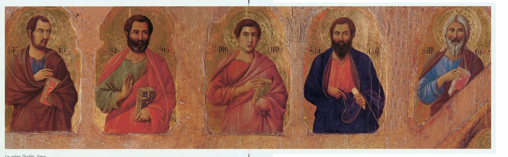 Stock Photo: 1899-31306 Military Parade at Campo di Marte, by Duccio di Buoninsegna, 1308 - 1311, 14th Century, tempera on panel, with gold ground. Italy. Tuscany. Siena. Opera del Duomo Museum. Front, left arcade. Detail of The apostles Thaddeus, Simon, Philip, James the Greater and Andrew