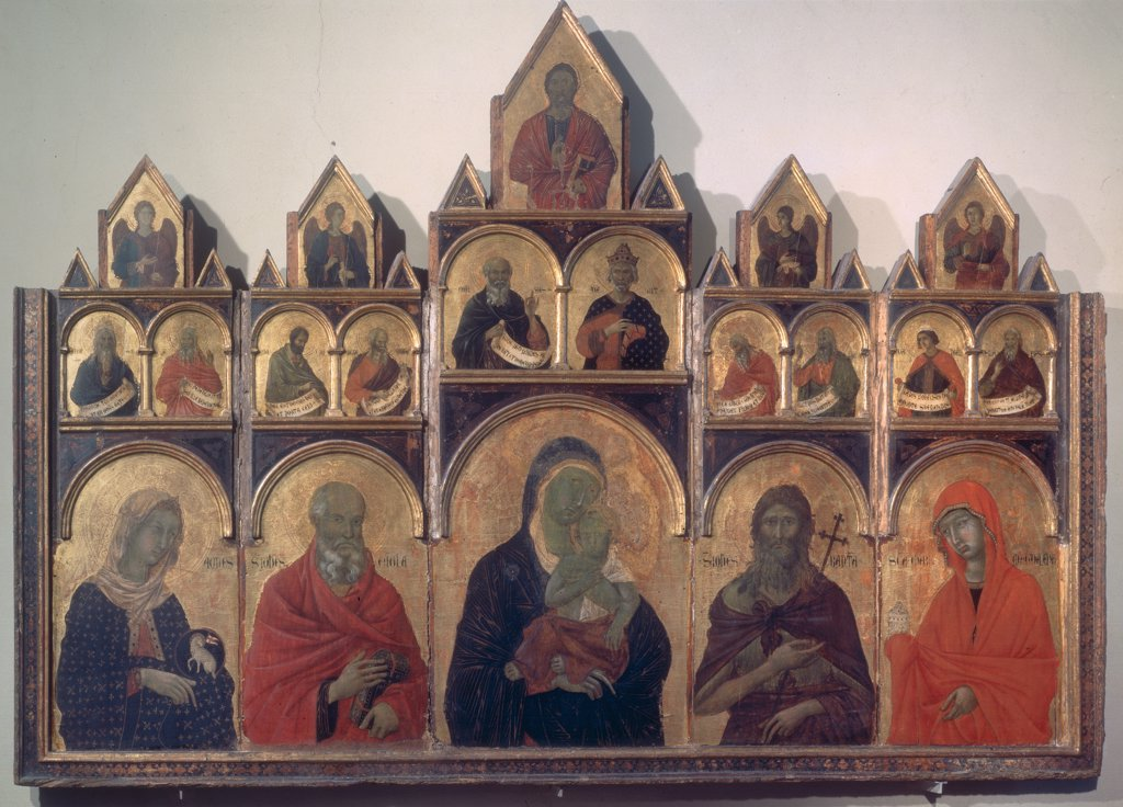 Stock Photo: 1899-31308 Polyptych No. 47, by circle Duccio di Buoninsegna, 14th Century, tempera on panel. Italy, Tuscany, Siena, National Gallery of Art. Whole artwork. Polyptych Madonna with Child and Saints cymatium round arches background gold black red dark: brown shades: hues: tones.