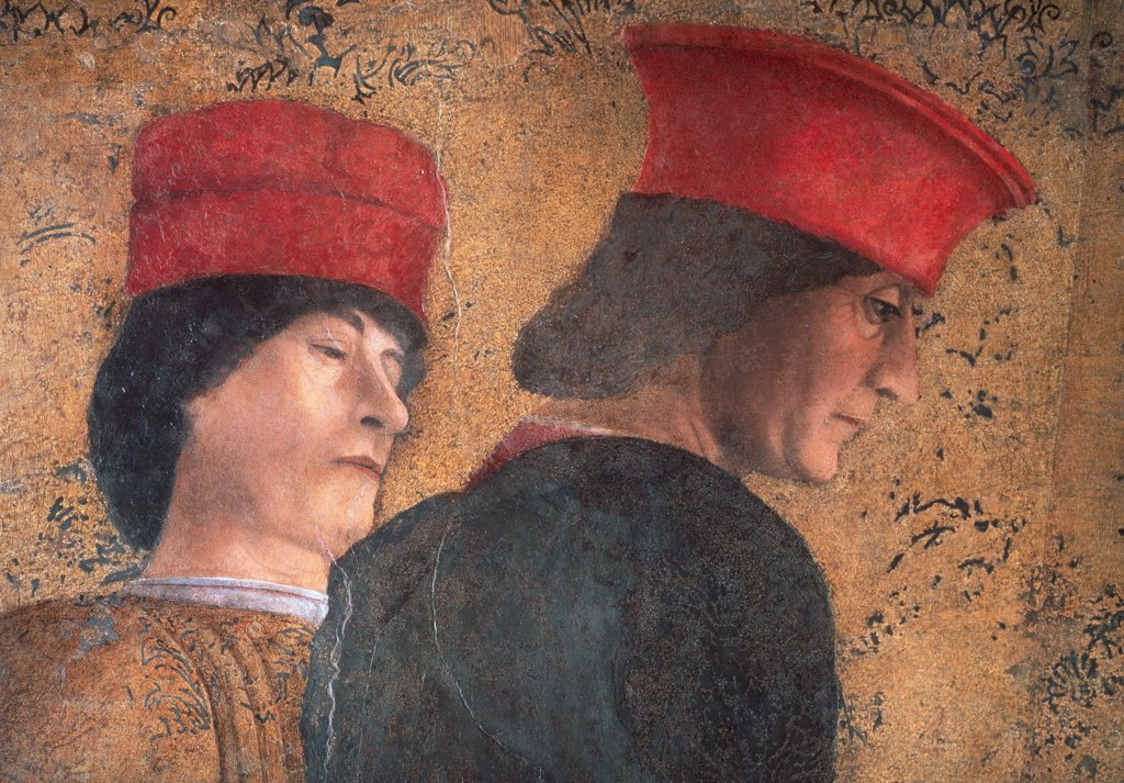 "Stock Photo: 1899-31314 Decoration of the Camera degli Sposi (Camera Picta), by Mantegna Andrea, 1465 - 1474, 15th Century, fresco and """"dry"""" tempera. Italy, Lombardy, Mantua, Ducal Palace. Detail. Men noblemen dignitaries courtiers headgears: headdresses hats caps pair: couple."