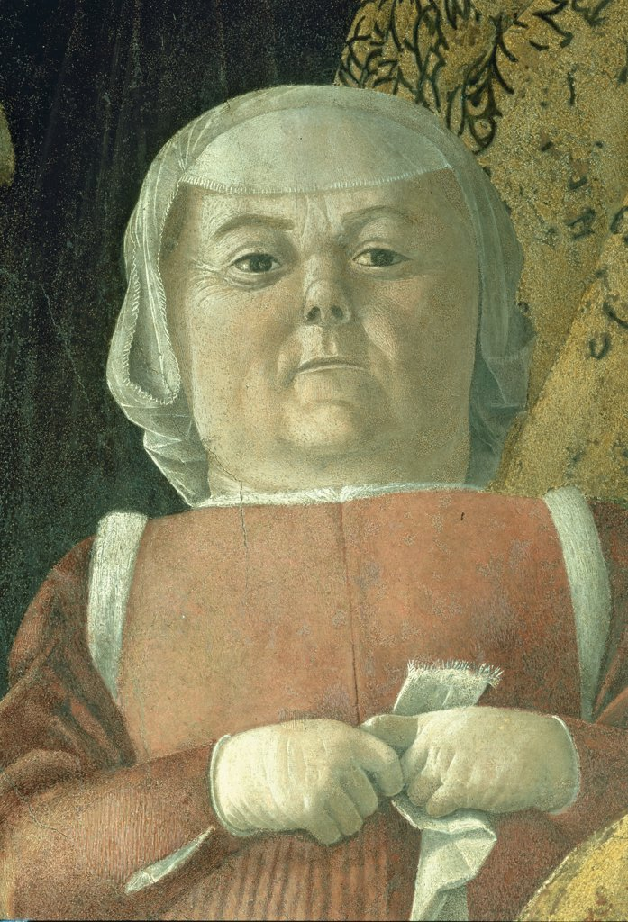 """Decoration of the Camera degli Sposi (Camera Picta), by Mantegna Andrea, 1465 - 1474, 15th Century, fresco and """"""""dry"""""""" tempera. Italy, Lombardy, Mantua, Ducal Palace. Detail. Woman courtesan dwarf handkerchief hat-veil headgear: headdress. : Stock Photo"""