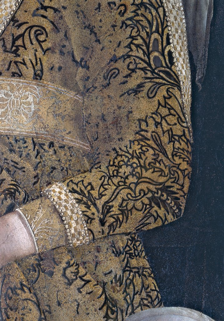 "Decoration of the Camera degli Sposi (Camera Picta), by Mantegna Andrea, 1465 - 1474, 15th Century, fresco and """"dry"""" tempera. Italy, Lombardy, Mantua, Ducal Palace. Detail. Dress suit sleeve wrist damask fabric: tissue decoration embroidery Barbara Gonzaga noblewoman woman. : Stock Photo"