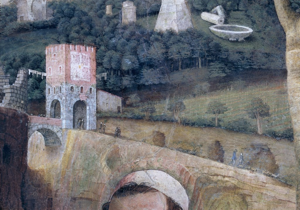 """Stock Photo: 1899-31322 Decoration of the Camera degli Sposi (Camera Picta), by Mantegna Andrea, 1465 - 1474, 15th Century, fresco and """"""""dry"""""""" tempera. Italy, Lombardy, Mantua, Ducal Palace. Detail. Landscape, bridge, fortified gate, arches, tower, battlement: crenellation, fortification, plants, trees, forest, walls, ruins, column, buildings, lawn.."""