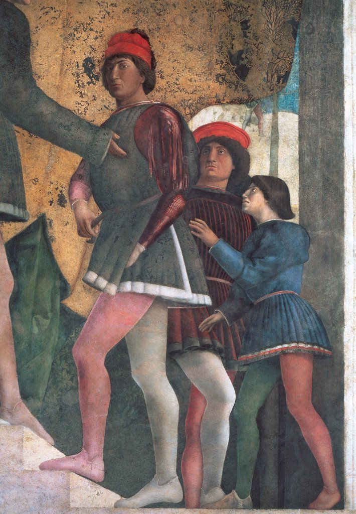 """Stock Photo: 1899-31328 Decoration of the Camera degli Sposi (Camera Picta), by Mantegna Andrea, 1465 - 1474, 15th Century, fresco and """"""""dry"""""""" tempera. Italy, Lombardy, Mantua, Ducal Palace. Detail. Northern wall or wall of the fireplace the Court some dignitaries and counselors clothes with Gonzaga's heraldic colors of climbing the stairs: steps on the right."""