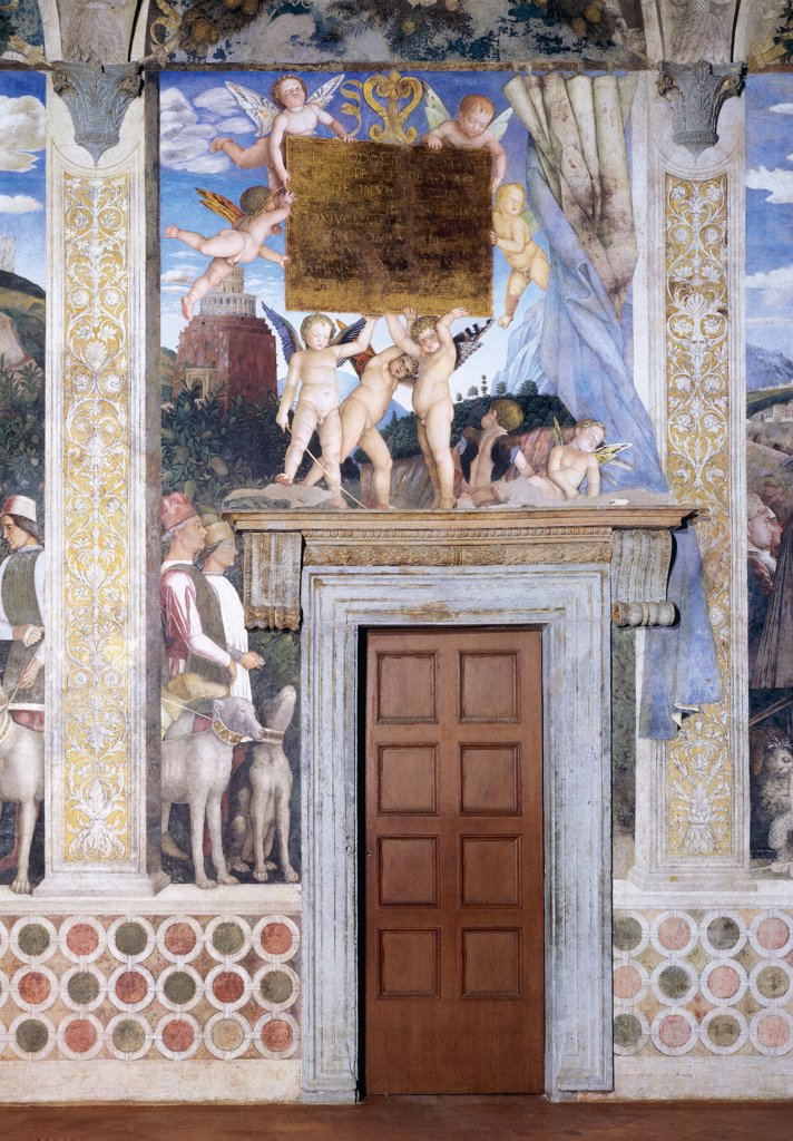 """Decoration of the Camera degli Sposi (Camera Picta), by Mantegna Andrea, 1465 - 1474, 15th Century, fresco and """"""""dry"""""""" tempera. Italy, Lombardy, Mantua, Ducal Palace. Detail. Two servants with dogs (hounds) on a leash and putti holding plate western wall The Encounter between Ludovico Gonzaga and his sons Frederick and Francis central episode. : Stock Photo"""