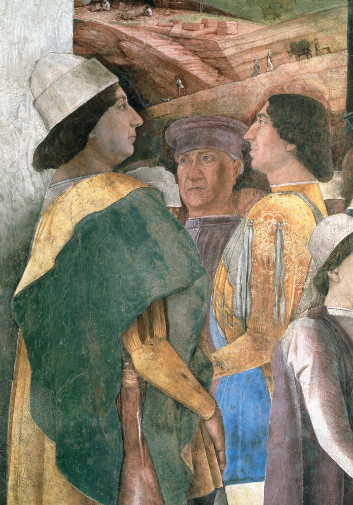 "Decoration of the Camera degli Sposi (Camera Picta), by Mantegna Andrea, 1465 - 1474, 15th Century, fresco and """"dry"""" tempera. Italy, Lombardy, Mantua, Ducal Palace. Detail. Emperor Frederick III, King Christian of Denmark and Federico I Gonzaga. Western wall The meeting between Ludovico Gonzaga and his sons Federico and Francesco. Right-hand episode: scene.. : Stock Photo"