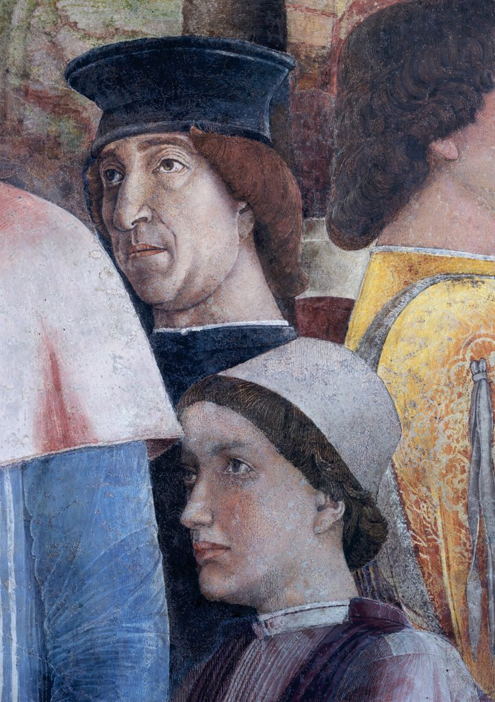 "Stock Photo: 1899-31345 Decoration of the Camera degli Sposi (Camera Picta), by Mantegna Andrea, 1465 - 1474, 15th Century, fresco and """"dry"""" tempera. Italy, Lombardy, Mantua, Ducal Palace. Detail. Faces of Ludovico Gonzaga and a figure in procession. Western wall The meeting between Ludovico Gonzaga and his sons Federico and Francesco. Right-hand episode: scene.."