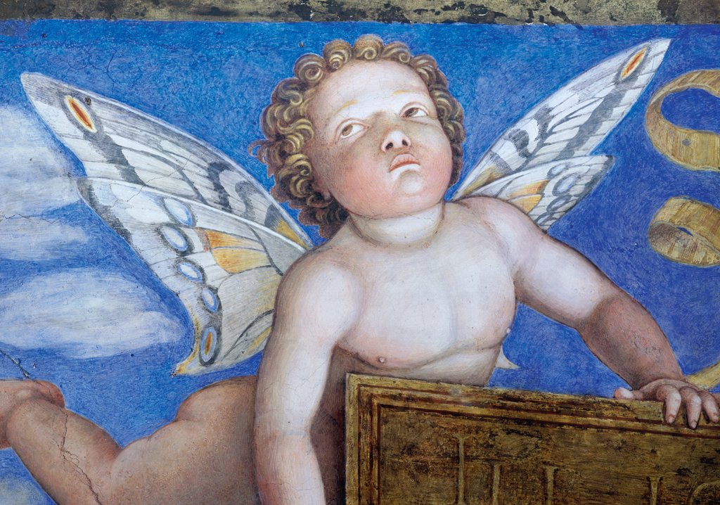 "Decoration of the Camera degli Sposi (Camera Picta), by Mantegna Andrea, 1465 - 1474, 15th Century, fresco and """"dry"""" tempera. Italy, Lombardy, Mantua, Ducal Palace. Detail. Blond putto: cherub, butterfly wings color azure: light blue yellow white ribbons fantastic creature sky clouds.. : Stock Photo"