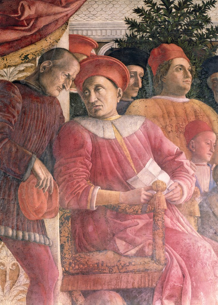 "Stock Photo: 1899-31352 Decoration of the Camera degli Sposi (Camera Picta), by Mantegna Andrea, 1465 - 1474, 15th Century, fresco and """"dry"""" tempera. Italy, Lombardy, Mantua, Ducal Palace. Detail. Ludovico Gonzaga, the secretary Marsilio Andreasi and his son Gianfrancesco. Northern wall or chimney wall, The Court.."