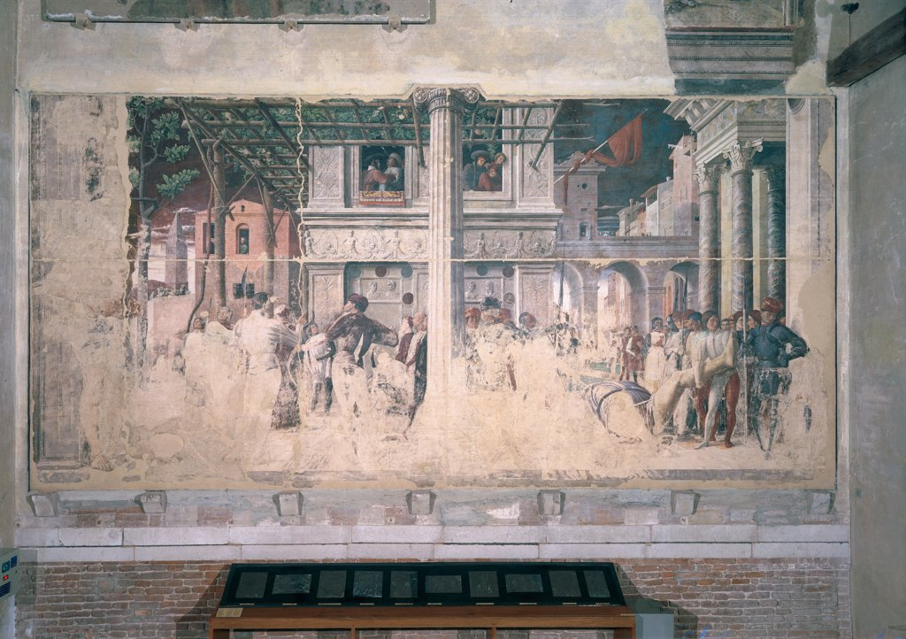 Stories of St James and St Christopher, by Mantegna Andrea, 1454 - 1457, 15th Century, detached fresco replaced in situ. Italy, Veneto, Padua, Eremitani Church, Ovetari Chapel. Whole artwork. Martyrdom of St Christopher and the transportation of his body of two episodes separated by column, gigantic figure of the saint, archers, darts, hit eye of the tyrant, 15C city, beheaded body, soldiers, figures, c. : Stock Photo