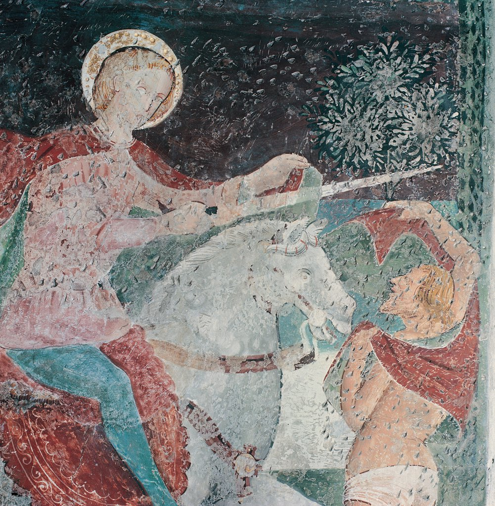Episodes from the Life of St Nicholas, by follower Vivarini Antonio, 15th Century, fresco. Italy, Veneto, Vittorio Veneto, Treviso, San Giovanni Battista church. Detail of the scene depicting St Nicholas on horseback tearing his mantle: cloak with his sword to give a piece to a naked person. : Stock Photo