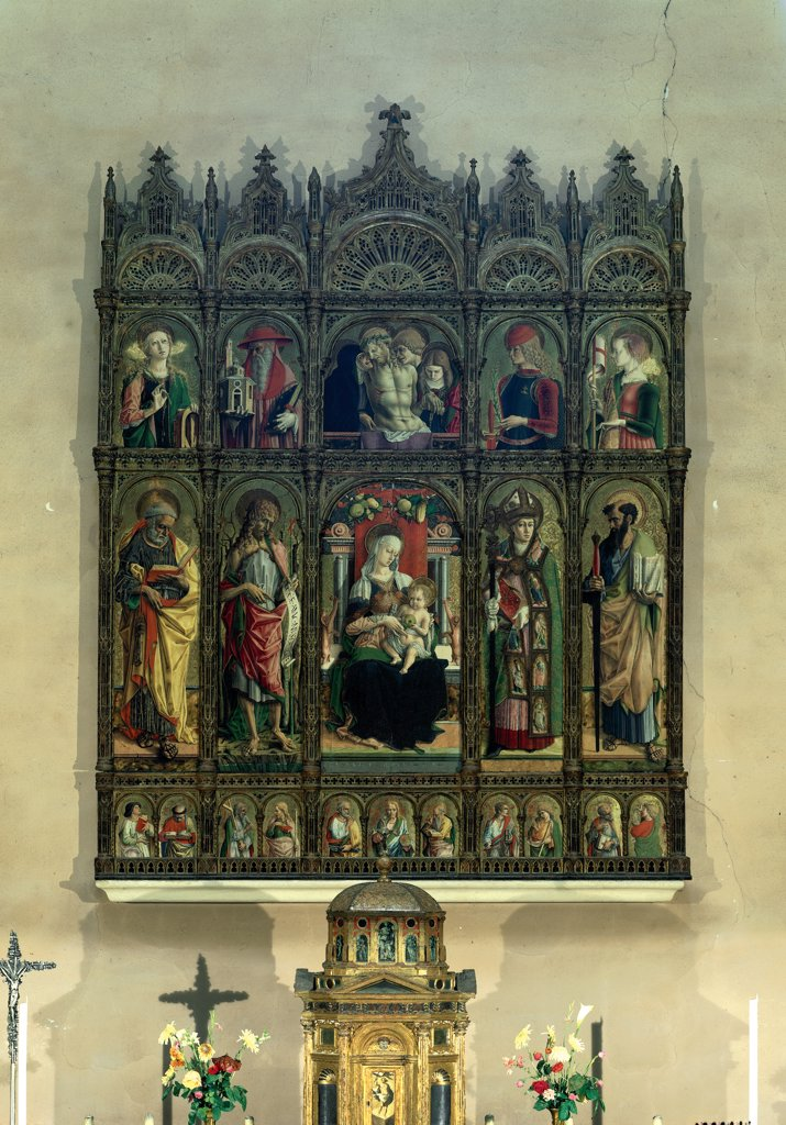 Stock Photo: 1899-31403 Pieta, Madonna and Child, Eight Saints. Polyptych of Ascoli Cathedral, by Crivelli Carlo, 1473, 15th Century, panel. Italy, Marche, Ascoli Piceno, Sant'Egidio Cathedral. Whole artwork. Predella with busts of saints and martyrs central register axial panel Madonna Mary with Infant Jesus: Christ Child: Baby Jesus: Child Jesus enthroned on either side saints standing in the upper register deposition.