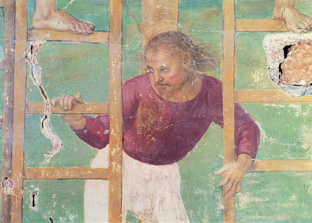 Deposition, by Vannucci Pietro known as Perugino, 1517, 16th Century, fresco. Italy, Umbria, Citta della Pieve, Perugia, Serviti Church. Detail. Man holding the ladders. Man ladders feet rungs white purple green brown. : Stock Photo