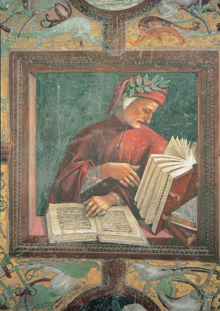 Stock Photo: 1899-31420 Dante Alighieri, by Signorelli Luca, 1499 - 1502, 15th Century, fresco. Italy, Umbria, Orvieto, Terni, Cathedral, San Brizio Chapel. Detail. Panel on a gold background Dante Alighieri half-bust reading codes red dress: robe: garment headgear: headdress laurel.