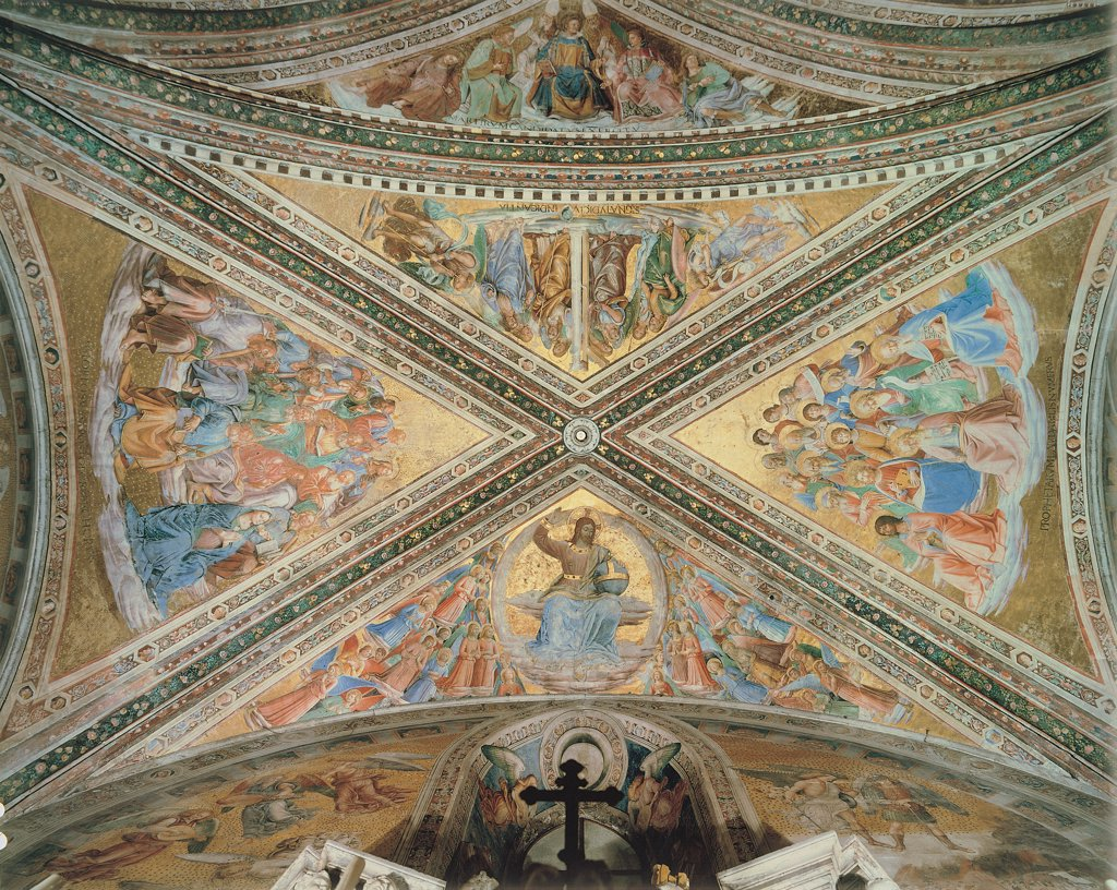 Stock Photo: 1899-31421 Decoration of cross vault, by Benozzo di Lese di Sandro known as Benozzo Gozzoli, Guido di Pietro (Piero) known as Beato Angelico, Signorelli Luca, 1499 - 1501, 15th Century, Unknow. Italy, Umbria, Orvieto, Terni, Cathedral. Whole artwork. Decoration ceiling cross vault decorated groin ribs Christ in mandorla holding cross globe and the right hand raised as sign of Judgment, on the sides and in other webs procession of angel gold background..