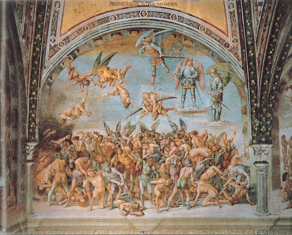 The Damned Souls in Hell, by Signorelli Luca, 1499 - 1504, 15th Century, fresco. Italy, Umbria, Orvieto, Terni, Cathedral, San Brizio Chapel. Whole artwork. Armed archangels devils host of damned souls torture bipartition of the composition upper part less dense angels sky clouds lower part group of damned souls confusion. : Stock Photo