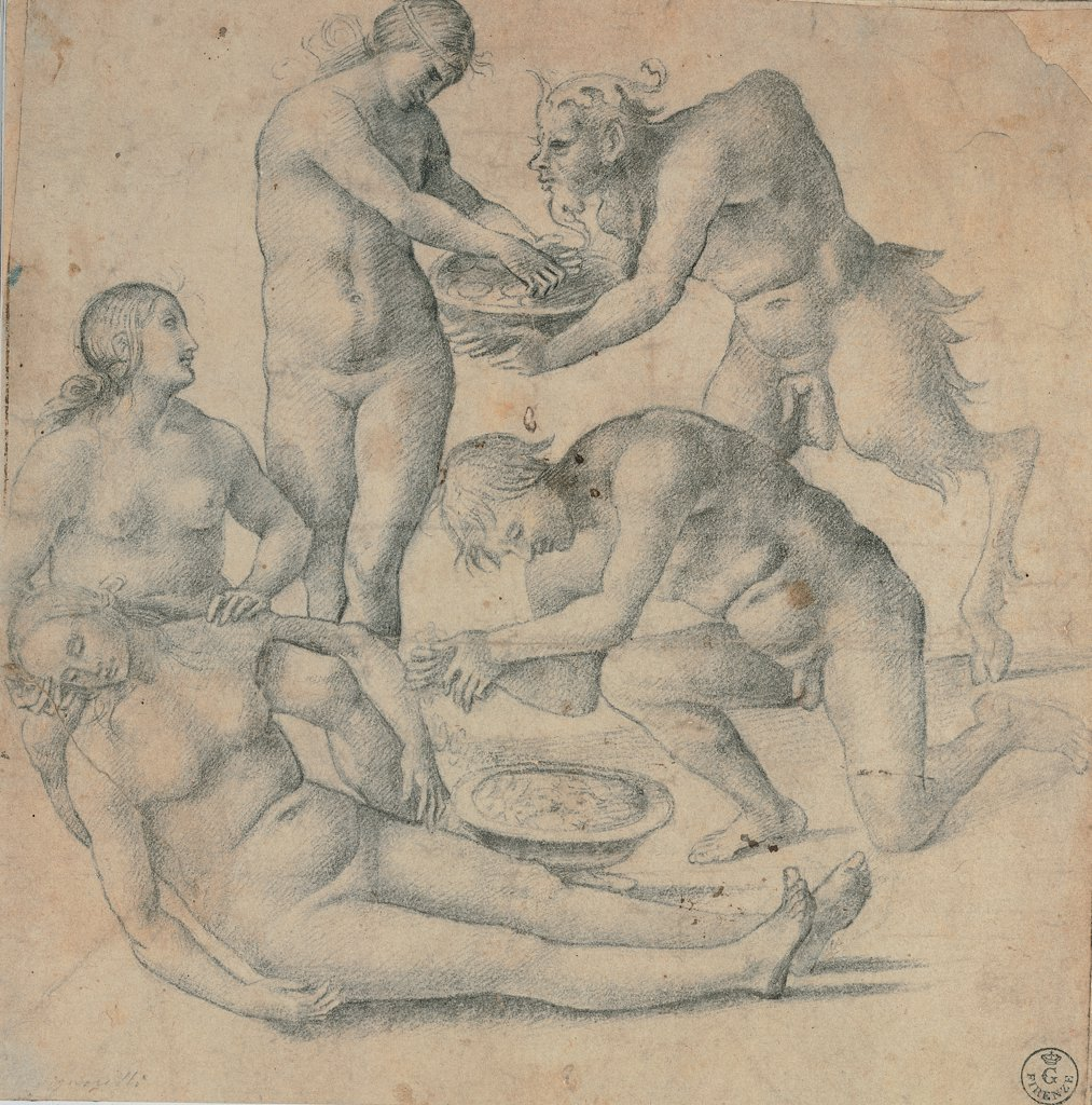 Nymphs and satyrs, by Signorelli Luca, 1510, 16th Century, black pencil on white paper. Italy, Tuscany, Florence, Uffizi Gallery, Drawings and Prints Cabinet. Whole artwork. Drawing nude satyrs and nymphs are trying to make a dead nymph recover her senses using fresh water. : Stock Photo