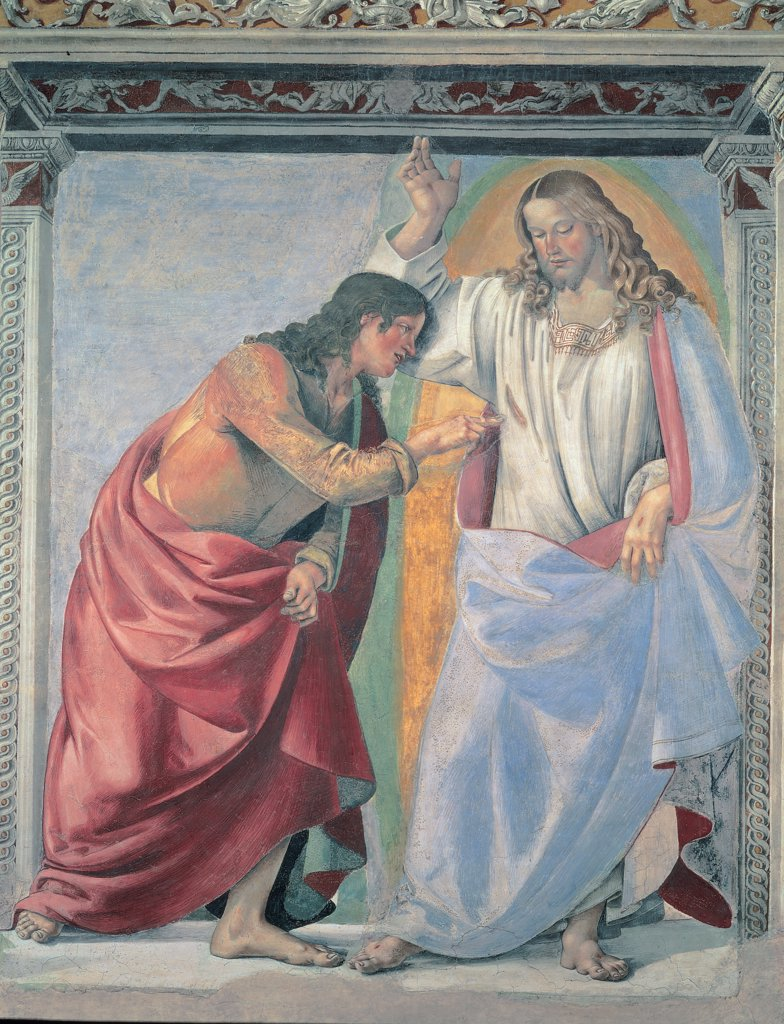 Unbelief of St Thomas, by Signorelli Luca, 1480, 15th Century, fresco. Italy, Marche, Loreto, Ancona, Santa Casa Basilica. Whole artwork. Inside square fake architecture perspective view Risen Christ standing light mandorla stigmata St Thomas putting his hand in Christ's side. : Stock Photo