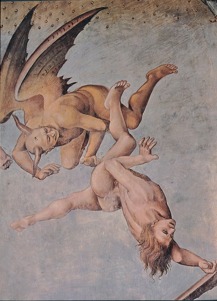 The Damned Souls in Hell, by Signorelli Luca, 1499 - 1504, 15th Century, fresco. Italy, Umbria, Orvieto, Terni, Cathedral, San Brizio Chapel. Detail. Winged devil driving naked damned sky. : Stock Photo
